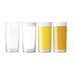 Big set of realistic white and colored cups. Blank cup for branding
