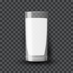 Milk in a glass. Dairy product in a clear glassful beaker. Transparent vector glass with milk. Breakfast, protein rich dairy product. Transparent photo realistic vector illustration.