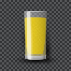 Orange juice in a glass. Organic tropical fruit drink. Transparent realistic vector illustration.