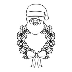christmas crown wreath with santa claus character vector illustration design