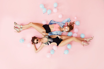 Pool Fashion In Summer. Women Model In Swimsuits And Sunglasses