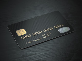 Black blank credit cards mockup on black wood table background.