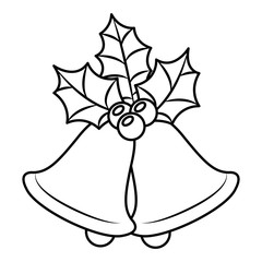 christmas bell with floral decoration vector illustration design