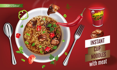Vector realistic illustration of instant cup noodles with meat.