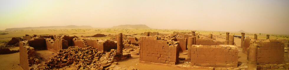 Panorama of Musawwarat es-Sufra ruins at Meroe, Sudan