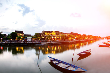 Hoi An old town a beautiful colorful night in vietnam