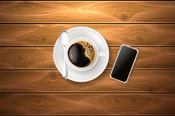 Vector cup coffee spoon smartphone wooden texture