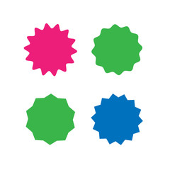 Set of vector starburst, sunburst badges. Different color. Simple flat style Vintage labels. Colored stickers.