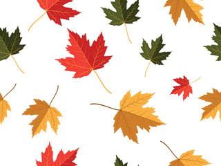 red yellow green maple leaf vector seamless pattern for wallpaper, background, cover, greeting card, fabric textile