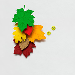 Happy Thanksgiving day / Creative thanksgiving day concept photo of leaves made of paper on white background.