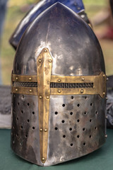Iron helmet of a medieval knight