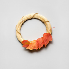 Happy Thanksgiving day / Creative thanksgiving day concept photo of leaves on grey background.