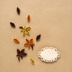 Happy Thanksgiving day / Creative thanksgiving day concept photo of leaves made of paper on brown background.