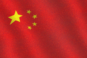 Illustraion of a flying Chinese Flag with a fabric pattern