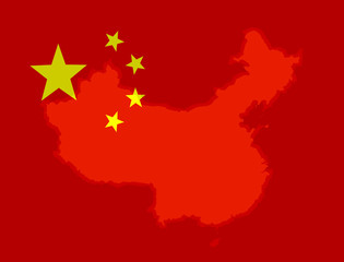 Illustraion of a Chinese Flag with a contour of borders