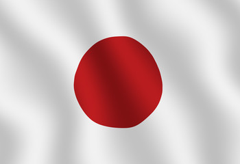 Illustraion of a flying Japanese Flag