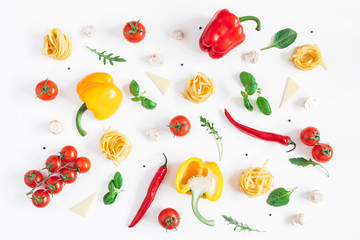 Ingredients for cooking pasta on white background. Fettuccine, fresh vegetables, cheese, mushrooms, spice. Italian food concept. Flat lay, top view, copy space