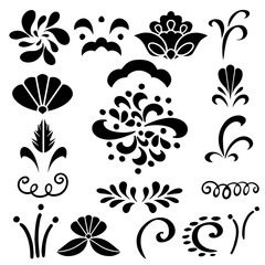 Set hand drawn black silhouettes flowers, leaves, waves