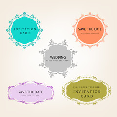 wedding invitation frame vector collection