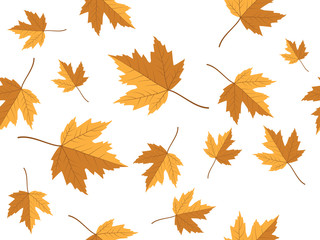 yellow maple leaf vector seamless pattern for wallpaper, background, cover, greeting card, fabric textile