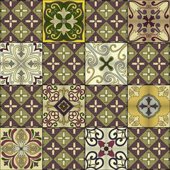 Seamless pattern with portuguese tiles in talavera style. Azulejo, moroccan, mexican ornaments.
