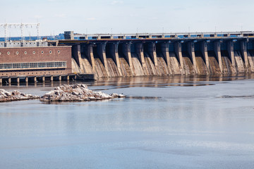 Concrete dam on the broad river