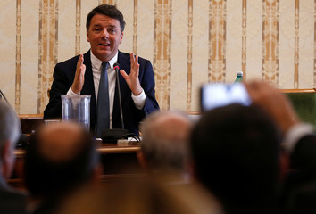 PD party leader Matteo Renzi gestures as he talks during a political rally in Naples