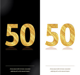 50 years anniversary black and white decorated cards with golden elements.