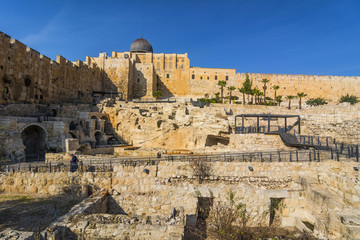 City of David, Jerusalem, Israel. Archeological site of ancient ruins - travel destination