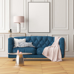 Mock up poster in the interior of the living room with a sofa. Trend color. 3d