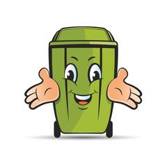 green color happy dustbin vector cartoon