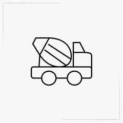concrete mixer car line icon