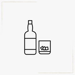 drink bottle with glass line icon