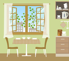 Table with chairs near an open window. Outside the window there are tree branches with green leaves and silhouettes of buildings. Fragment of the kitchen interior in a green color. Vector illustration