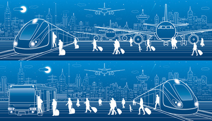 Transport panorama set. People get on  train leaving airplane. Passengers go at bus exit train. Travel transportation infrastructure. Plane is runway. Night city on background. Vector design art