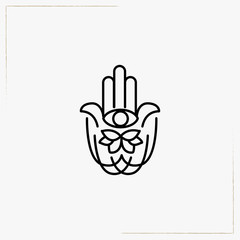 hand palm with eye line icon