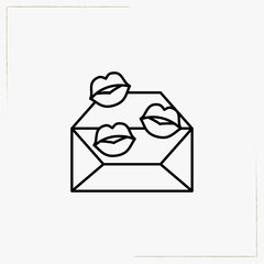 envelope with kiss line icon
