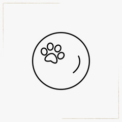 trace of a cat circle line icon