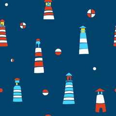 Marine Seamless Pattern with Hand-drawn Lighthouses on a Navy Background