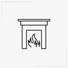 fireplace line icon