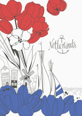 Doodle Poster Resembling the Flag of the Netherlands with Dutch Symbols, Architecture and Hand-drawn Tulips