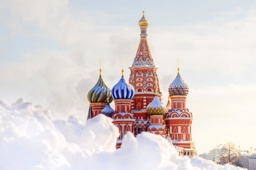 Winter view St. Basil's Cathedral in Moscow