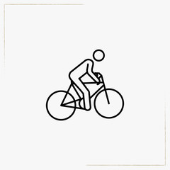 bicycle riding line icon