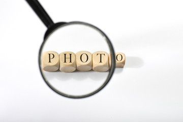 Photo word on wooden cubes. Photo concept