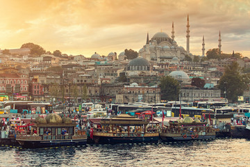 Sunset Landscape at Eminonu district of the city with Suleymaniye mosque at the background