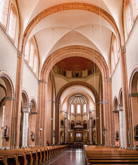 Panoramic view of Interior of St. Francis of Assisi Church, Vienna. Cathedral was built in 1898