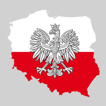 Poland map with eagle and white red polish flag