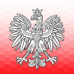 Poland eagle over white red mosaic