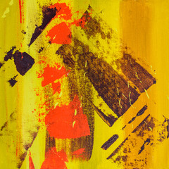 Fotobehang Hoogte schaal square yellow red brown acrylic abstract painting