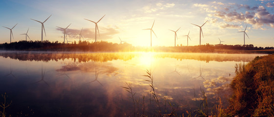Windmills for electric power production on the field. wonderful sunny sunrise on lake. Wall mural